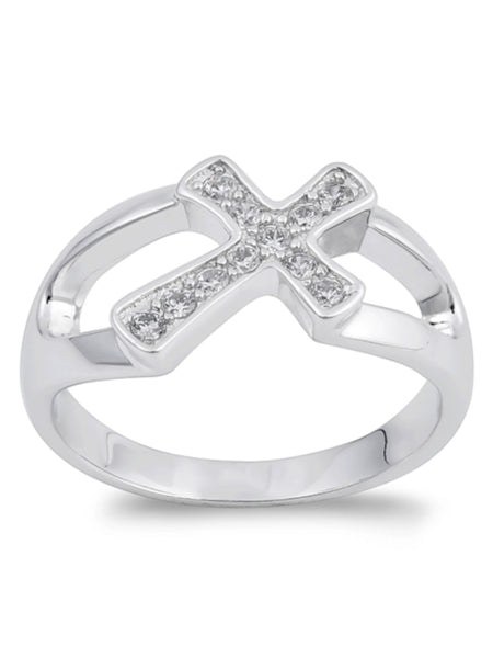 Sterling Silver Sideways Cross Ring with CZ Stones and Jewelry Gift Box