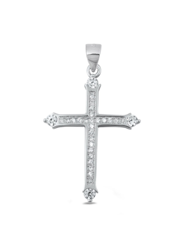 Simple Cross Necklace with Stones Silver