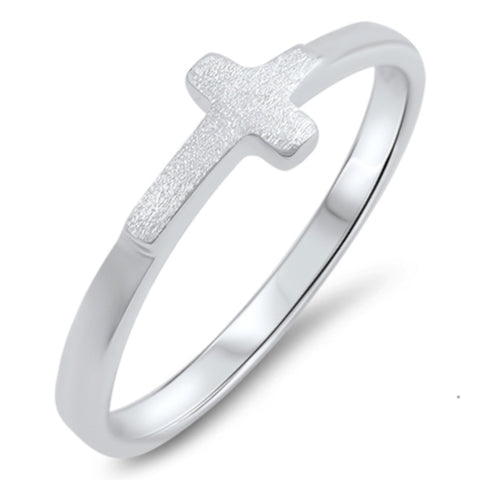 Small Silver Cross Ring