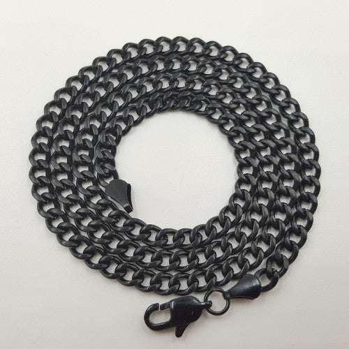 Black Stainless Steel Curb Chain Necklace For Men