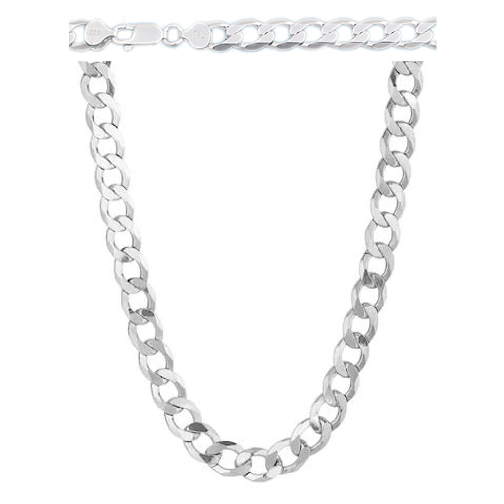 8900a515810a8 Sterling Silver Curb Chain For Men, 20 to 30 inches, 9 mm wide
