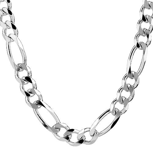 Sterling Silver Figaro Chain Necklace Men 20 To 34 Inches 7 Mm Wide North Arrow Shop