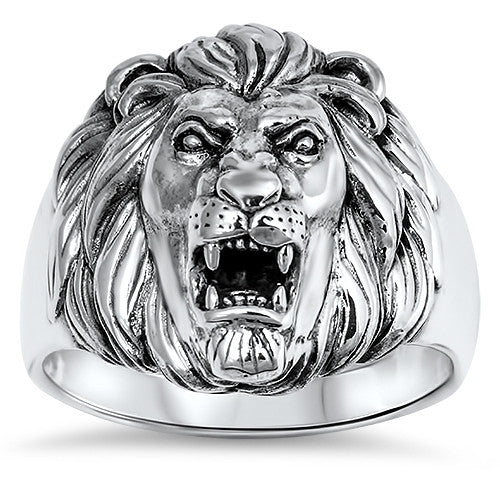 Sterling Silver Lion Ring for Men JOSHUA 1:9 Courage Bible Verse