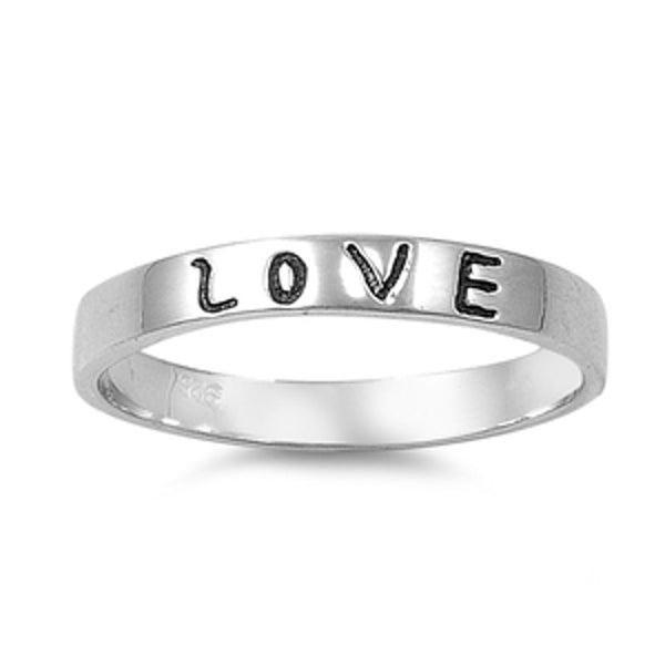 Thin Band Love Word Ring