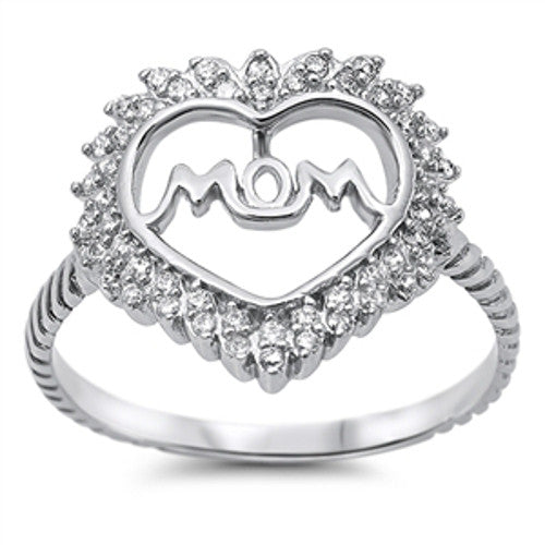 Sterling Silver Mom Ring Heart