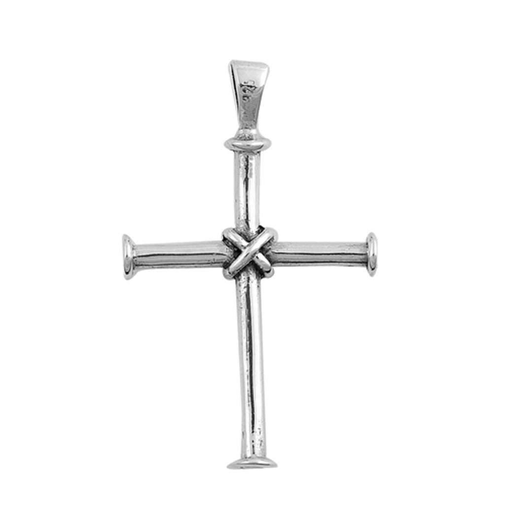 Sterling Silver Nail Cross Pendant with Chain, Wire Wrapped Design