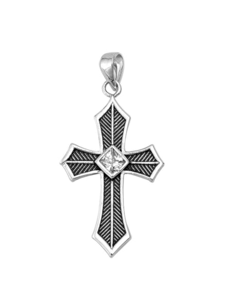 Sterling Silver Solitaire Cross and Chain for Women