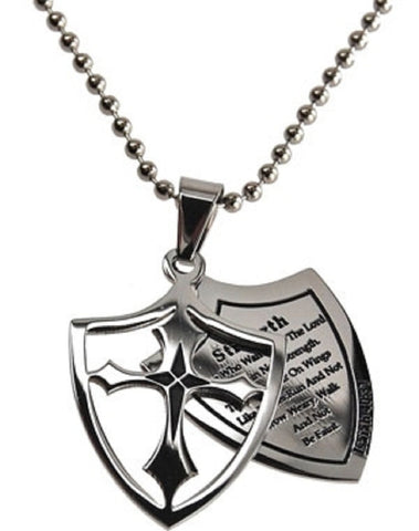 Strength Necklace Two Piece Cross Shield with Bible Verse, Stainless Steel Ball Chain