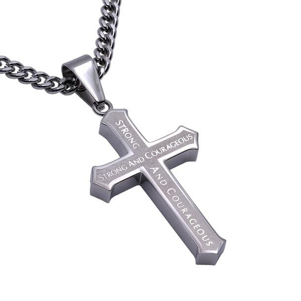 Strong And Courageous Cross Necklace