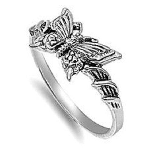 Stylish Butterfly Ring, 925 Sterling Silver, Christian Inspired Jewelry