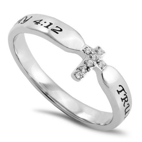 1 TIMOTHY 4:12 Small Cross Ring for Her, Clear CZ Stones, Stainless Steel