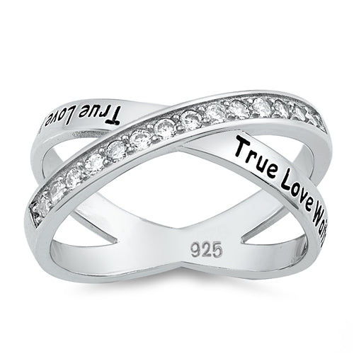 TRUE LOVE WAITS, Criss Cross X Ring, 925 Sterling Silver with Gift Box