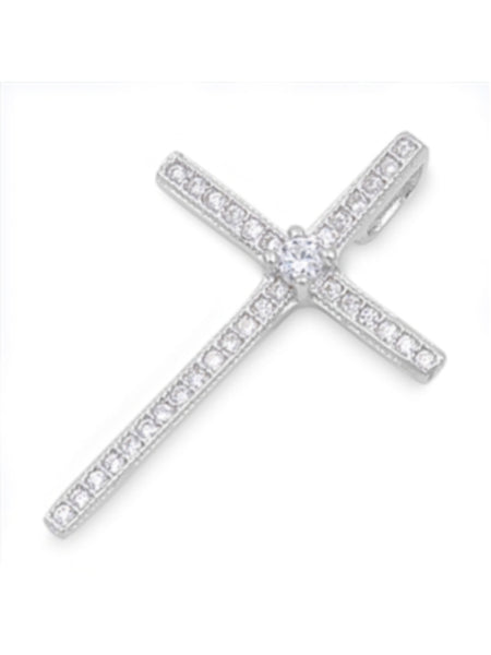 Thin CZ Cross Pendant for Women