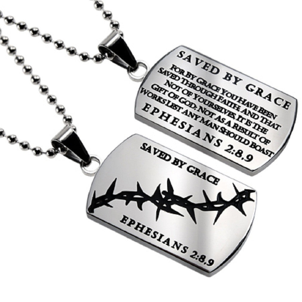 Christian Dog Tag Ephesians 2:8,9, SAVED BY GRACE, Crown of Thorns, Stainless Steel Bead Chain