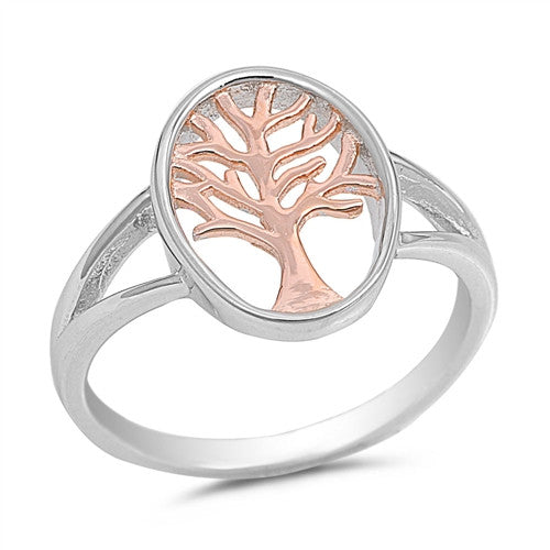 Tree of Life Ring Rose Gold Plated Sterling Silver, Free Jewelry Gift Box