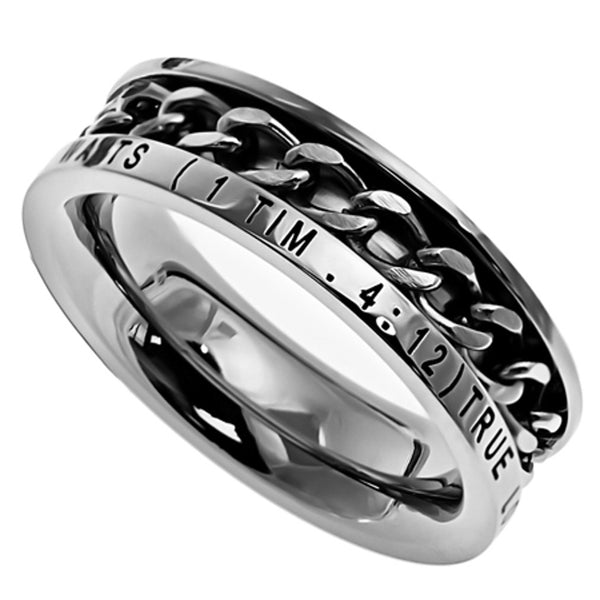 TRUE LOVE WAITS 1 Timothy 4:12 Christian Women Chain Ring, Stainless Steel