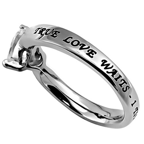 True Love Waits Purity Heart Ring, 1 Timothy 4:12 Bible Verse, Stainless Steel