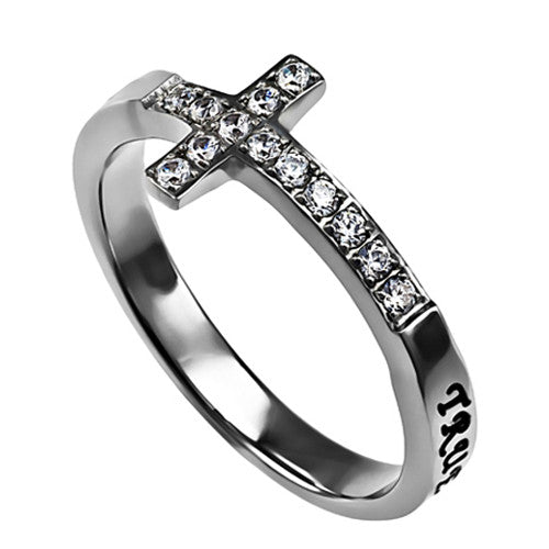 True Love Waits Purity Ring for Teen Girls, Sideways Cross Stainless Steel