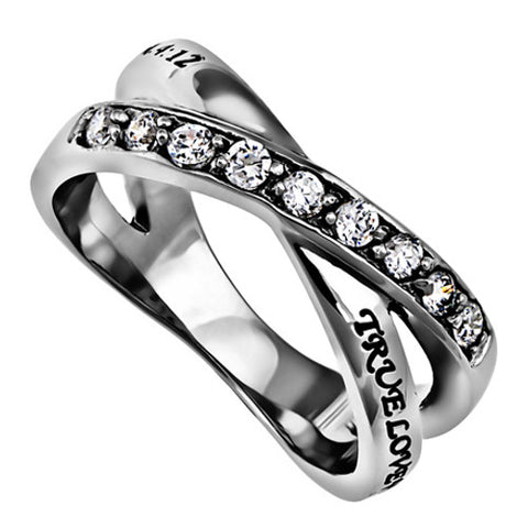 True Love Waits Purity Ring 1 Timothy 4:12, Criss Cross Band with Bible Verse