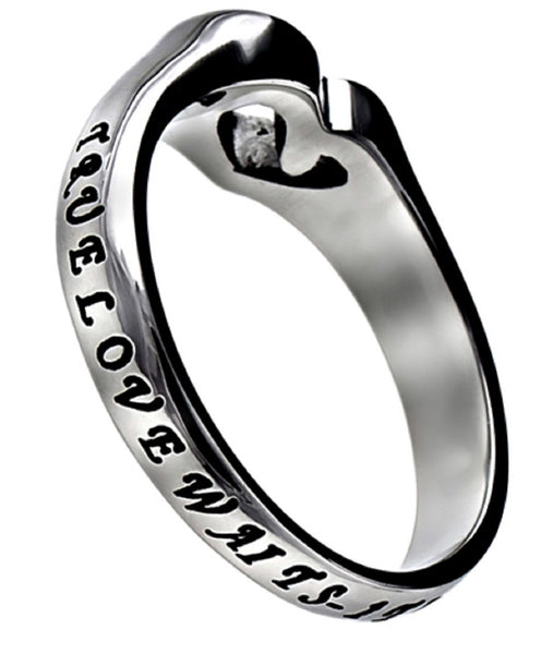 1 Timothy 4:12 Heart Cut Out Ring, True Love Waits Bible Verse, Stainless Steel