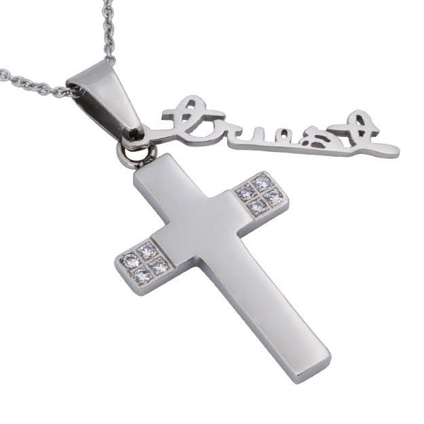 Proverbs 3:5 Trust Necklace Cross
