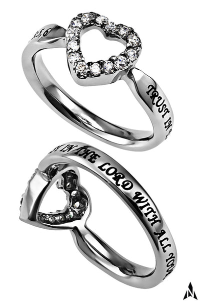 Proverbs 3:5 Ring Bible Verse TRUST, Stainless Steel Clear CZ Heart