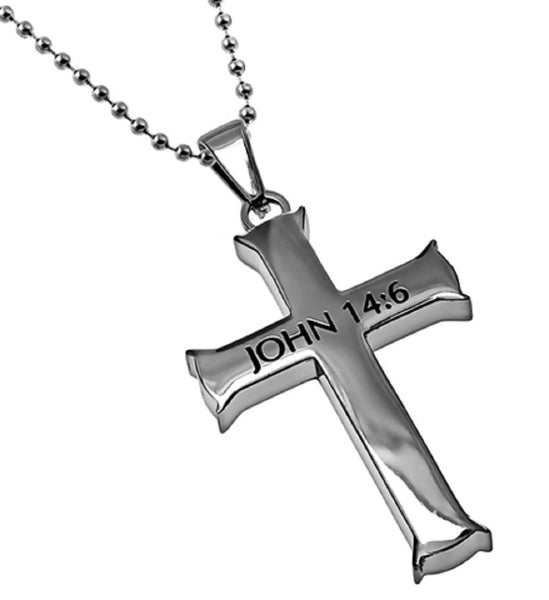 John 14:6 Necklace, Cross Pendant WAY, TRUTH, LIFE Bible Verse, Stainless Steel with Bead Chain