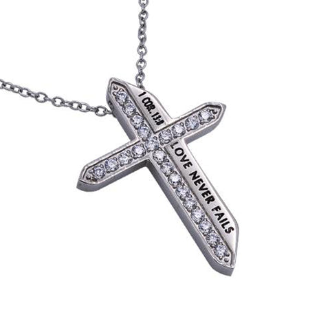 LOVE NEVER FAILS 1 Corinthians 13:8 Christian Katana Cross Necklace