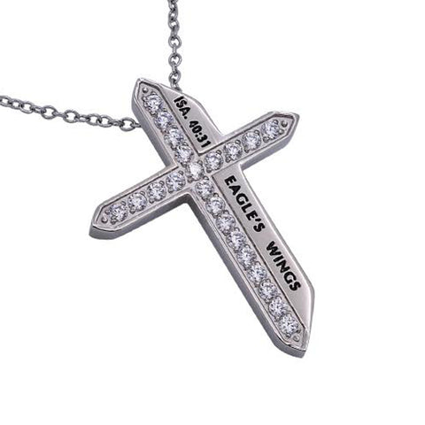 EAGLE'S WINGS Isaiah 40:31 Christian Katana Cross Necklace