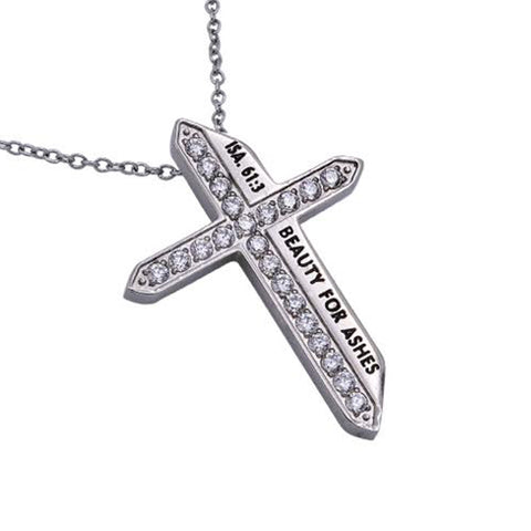 BEAUTY FOR ASHES Isaiah 61:3 Christian Katana Cross Necklace