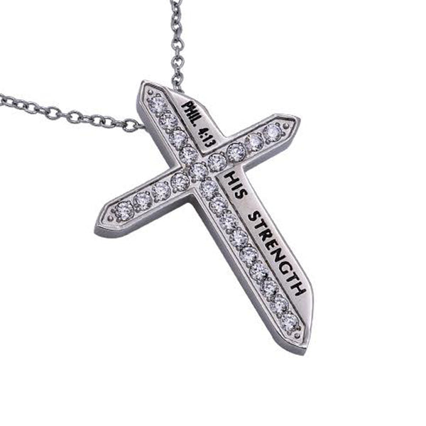 HIS STRENGTH Philippians 4:13 Christian Katana Cross Necklace