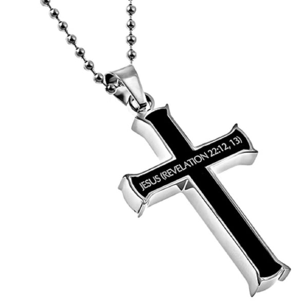 Revelation 22:12,13 Black Cross Necklace ALPHA OMEGA Bible Verse, Stainless Steel Bead Chain