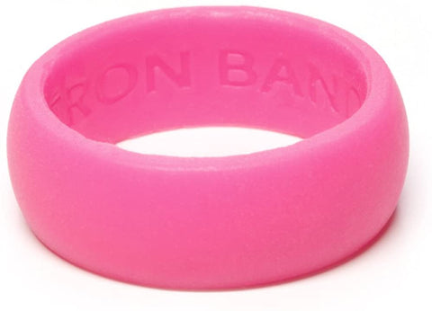 Iron Band Quality Men's Rubber Silicone Wedding Bands for an Active Lifestyle… (Pink, Small (5-7))