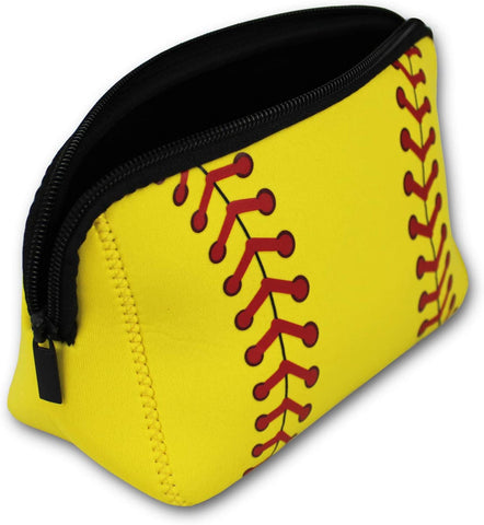 Knitpopshop Baseball Softball Make Up Bag Cosmetics Toiletries Neoprene washable zipper women girls mom gift team player (Softball)