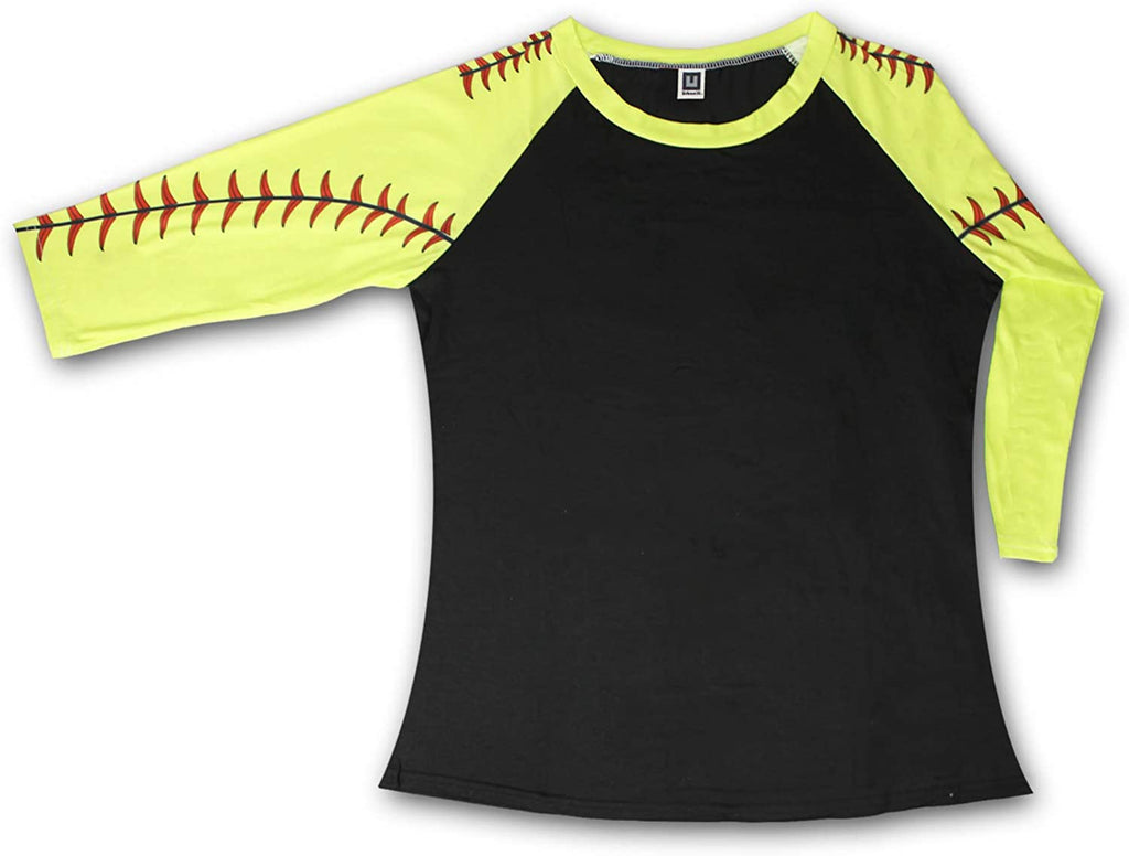 KNITPOPSHOP Baseball 3/4 Length Long Sleeved T Shirt for Mom Fans Apparel Sleeves Gifts Team (Black, X-Large)
