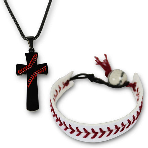KNITPOPSHOP Urbanifi Baseball Cross Necklace Pendant and Bracelet Gift Jewelry Mom Team Coach Player Men Women Unisex Silver Christian I CAN DO All Things Strength Bible Verse