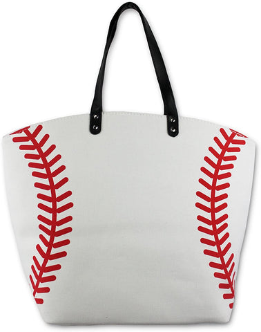 KnitPopShop Basketball, Baseball, Football, Softball, Sports, Canvas Tote Bag Handbag Large Oversized Mom Gift