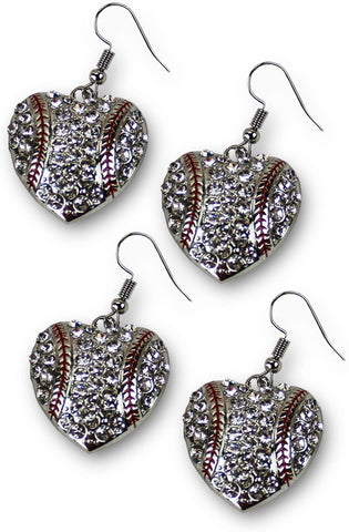 Baseball Mom Earrings Rhinestones Dangle Hearts Gift Mother (2 Pack)