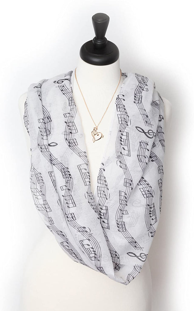 Knitpopshop Music Note Scarf and Music Note Necklace Gift Bundle