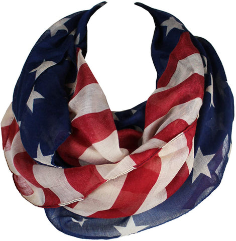 KnitPopShop American Flag summer infinity scarf 4th of July USA
