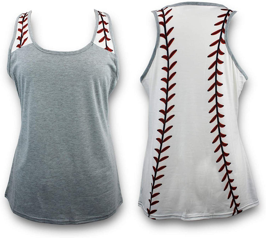 Baseball Tank Top for Mom Fans Sports Games Gifts Teen Women (Grey, Large)