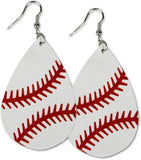 KNITPOPSHOP Leather Baseball Teardrop Earrings Dangle Gift Jewelry Girls Mom Travel Beach