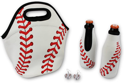 Iron Band Baseball Gift Bundle, Baseball Neoprene Lunch Bag, 2 Baseball Beer Bottle Cooler, Baseball Earrings for Sports Fan Men Women