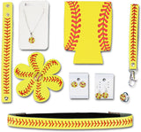 Iron Band Softball Mom Gift Bundle, Baseball Headband, Keychain, 2 Pairs of Baseball Earrings, Baseball Necklace, Hairbow, Ring for Sports Fan Men Women