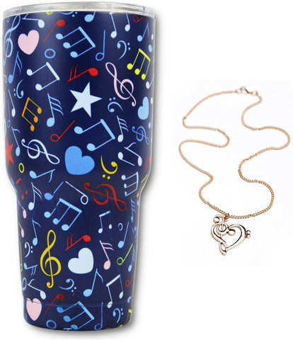 Music Note Gift Bundle, 30Oz Stainless Steel Tumbler & Music Note Necklace, KnitPopShop, Travel Vacuum Insulate Cup Men Women Mom Teacher Fan Lovers Mug