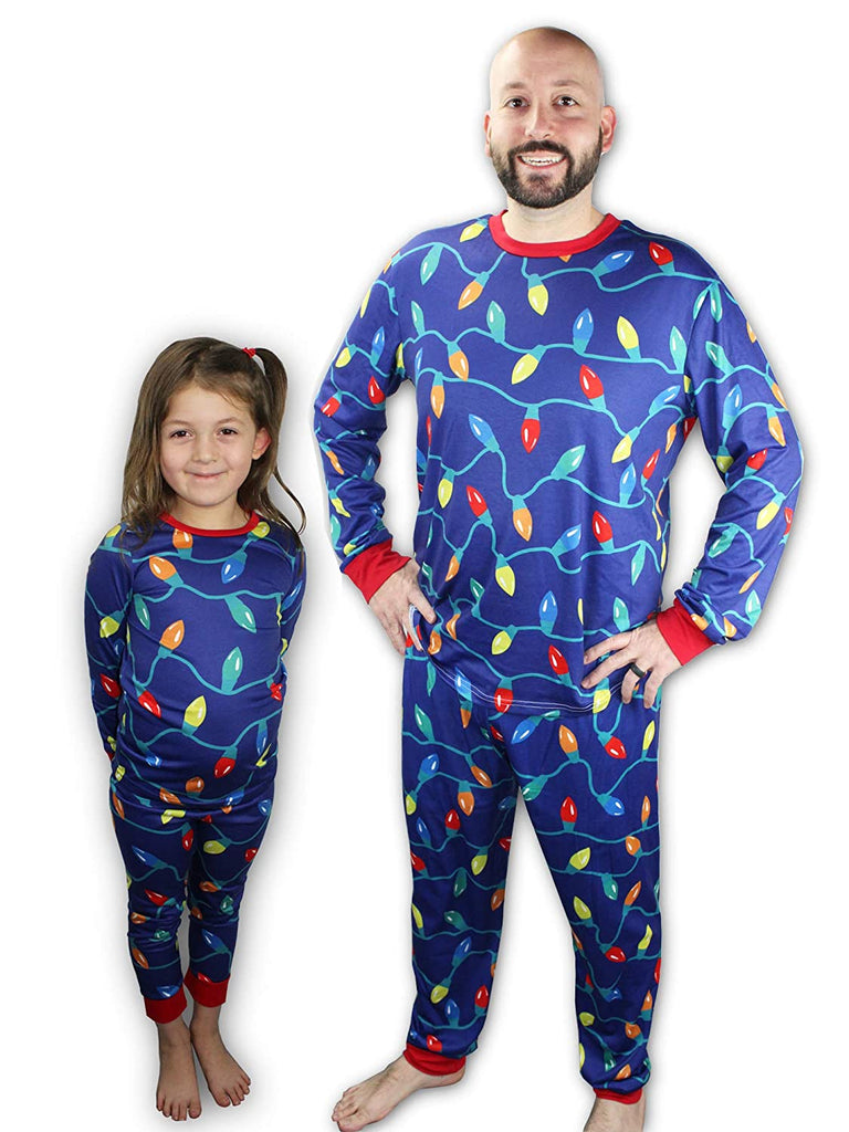 Knitpopshop Matching Family Christmas Lights Pajama Set, Kids, Adults, Womens, Mens Custom Red Blue Green (Youth 11/12)