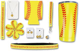Iron Band VIP Softball Mom Gift Bundle, Softball 20 OZ Tumbler, Headband, Keychain, 2 Pairs of Baseball Earrings, Baseball Necklace, Hairbow, Ring for Sports Fan Men Women