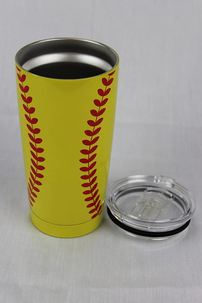Softball Tumbler Cup 20oz Gift for Mom Men Women, Stainless Steel, Vacuum Insulated, Keeps Water Stay Cold for 24, Hot for 12 hours (20oz, Softball)