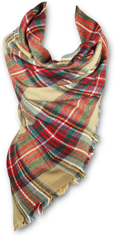 KnitPopShop Blanket Scarf Striped Oversized Plaid Tartan Scarves