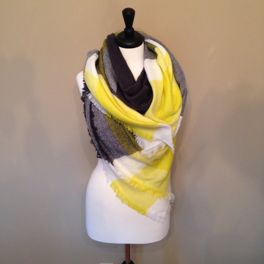 Yellow and Black Plaid Blanket Scarf by KnitPopShop